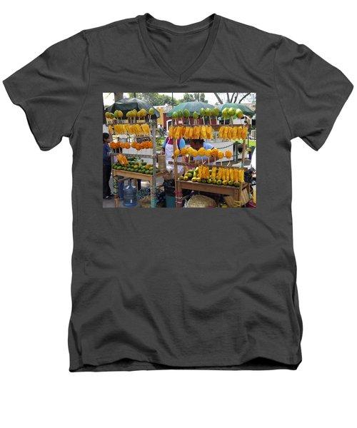 Fruit Stand Antigua  Guatemala Men's V-Neck T-Shirt by Kurt Van Wagner