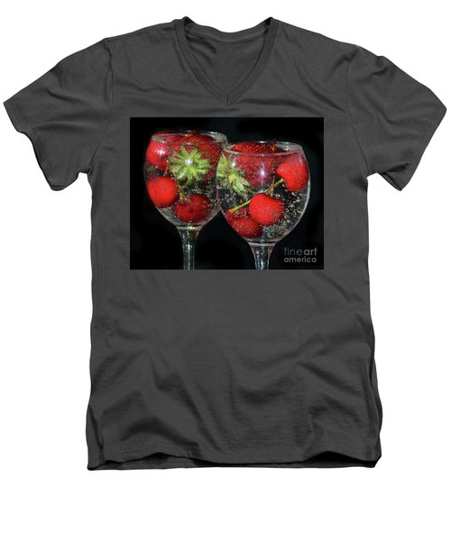 Men's V-Neck T-Shirt featuring the photograph Fruits In Glass by Elvira Ladocki