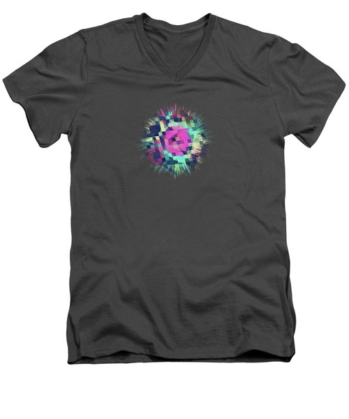 Fruity Rose   Fancy Colorful Abstraction Pattern Design  Green Pink Blue  Men's V-Neck T-Shirt