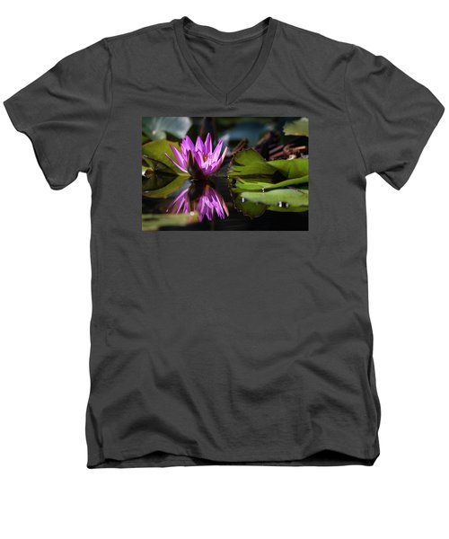 Men's V-Neck T-Shirt featuring the photograph Fuchsia Dreams by Suzanne Gaff