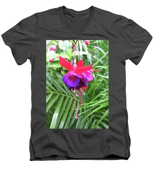 Men's V-Neck T-Shirt featuring the photograph Fuchsia by Mary Ellen Frazee