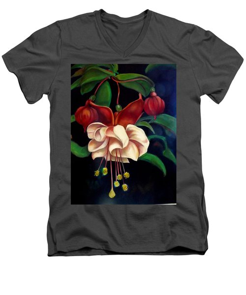 Fuchsias Men's V-Neck T-Shirt by Irena Mohr