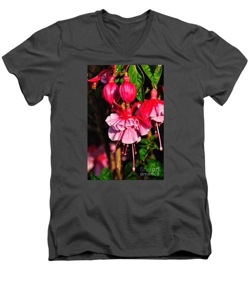 Fuchsias With Droplets Men's V-Neck T-Shirt