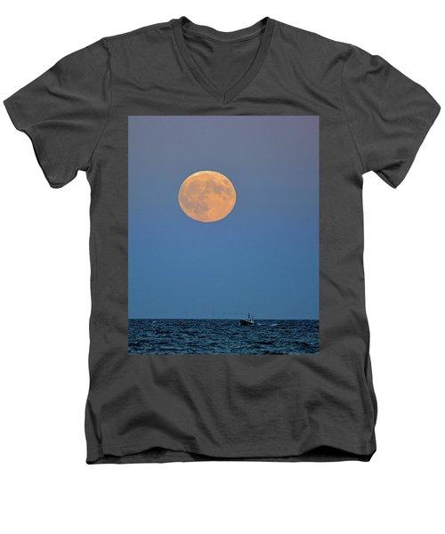 Full Blood Moon Men's V-Neck T-Shirt by Nancy Landry
