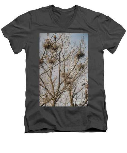 Men's V-Neck T-Shirt featuring the photograph Full House by David Bearden
