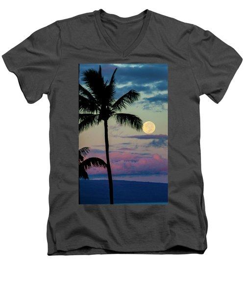 Full Moon And Palm Trees Men's V-Neck T-Shirt