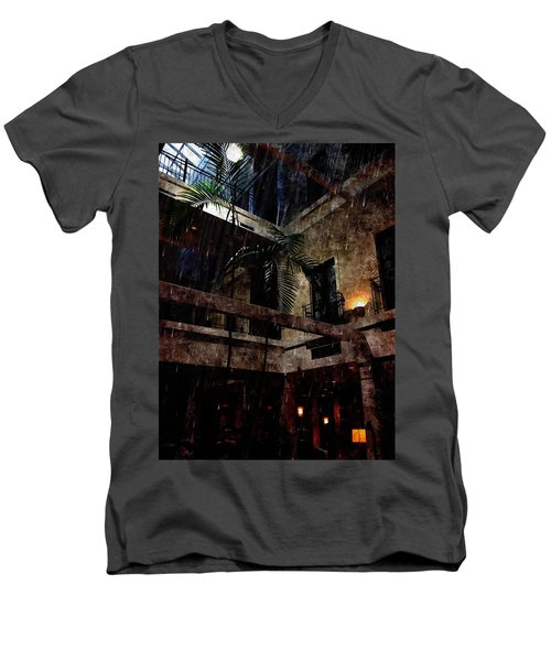 Full Moon At Tremont Toujouse Bar Men's V-Neck T-Shirt by Karl Reid