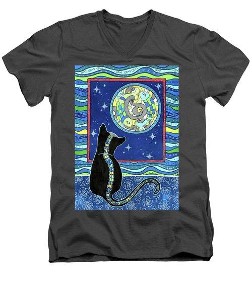 Pisces Cat Zodiac - Full Moon Men's V-Neck T-Shirt