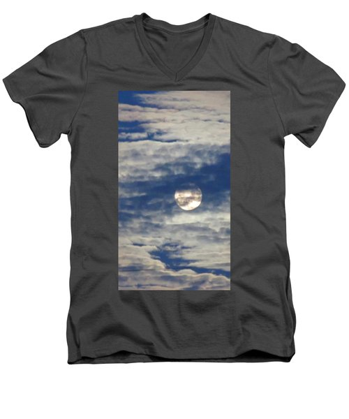 Full Moon In Gemini With Clouds Men's V-Neck T-Shirt