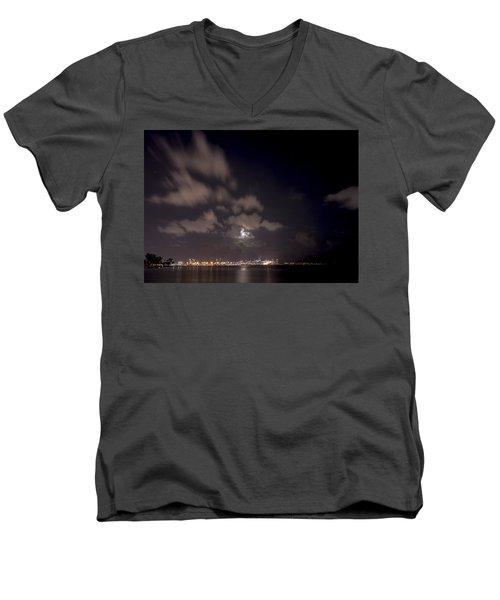 Full Moon In Miami Men's V-Neck T-Shirt