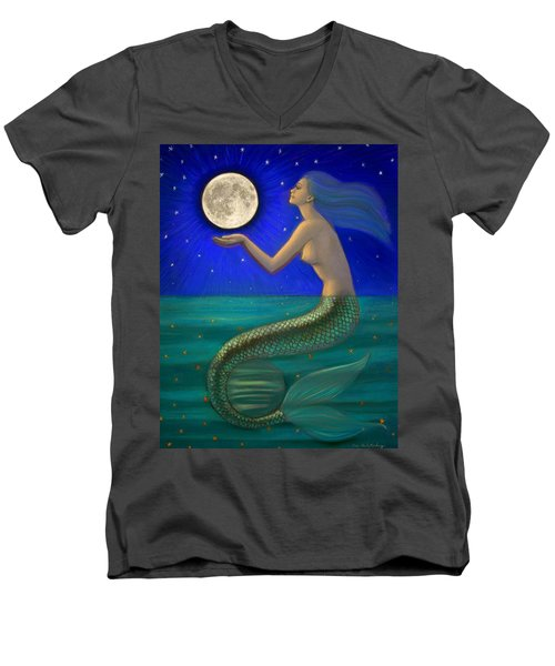 Full Moon Mermaid Men's V-Neck T-Shirt