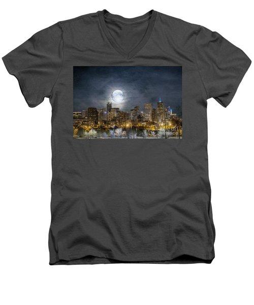 Full Moon Over Denver Men's V-Neck T-Shirt