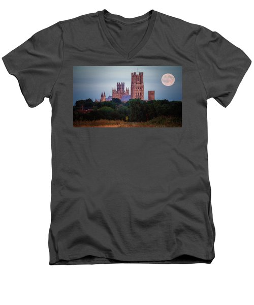 Full Moon Over Ely Cathedral Men's V-Neck T-Shirt