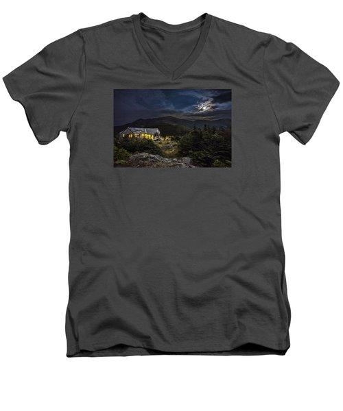 Full Moon Over Greenleaf Hut Men's V-Neck T-Shirt