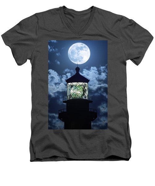 Full Moon Over Hillsboro Lighthouse In Pompano Beach Florida  Men's V-Neck T-Shirt
