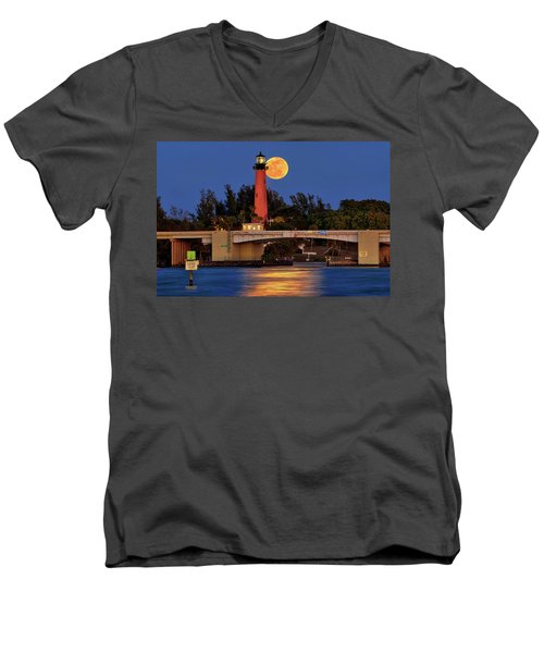 Full Moon Over Jupiter Lighthouse, Florida Men's V-Neck T-Shirt