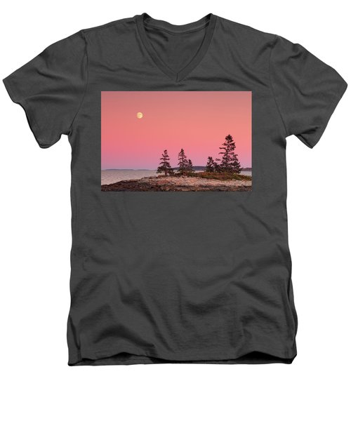 Men's V-Neck T-Shirt featuring the photograph Full Moon Over Maine  by Emmanuel Panagiotakis