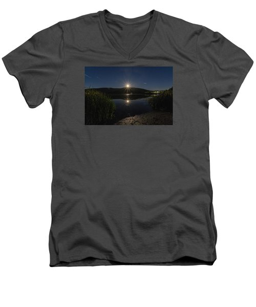 Men's V-Neck T-Shirt featuring the photograph Full Moon Retreat Meadows by Tom Singleton