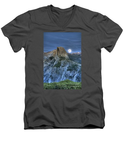 Full Moon Rising Behind Half Dome Men's V-Neck T-Shirt by Jim And Emily Bush