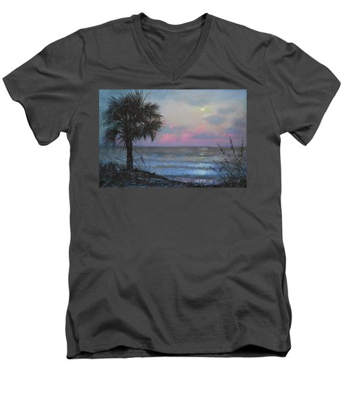 Full Moon Rising Men's V-Neck T-Shirt by Blue Sky