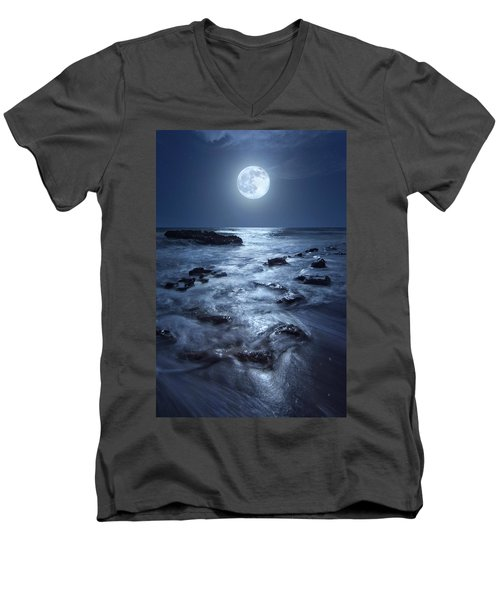 Full Moon Rising Over Coral Cove Beach In Jupiter, Florida Men's V-Neck T-Shirt by Justin Kelefas