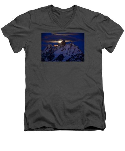 Full Moon Sets Over The Grand Teton Men's V-Neck T-Shirt by Raymond Salani III