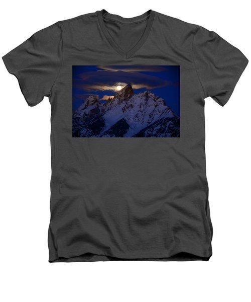 Full Moon Sets Over The Grand Teton Men's V-Neck T-Shirt