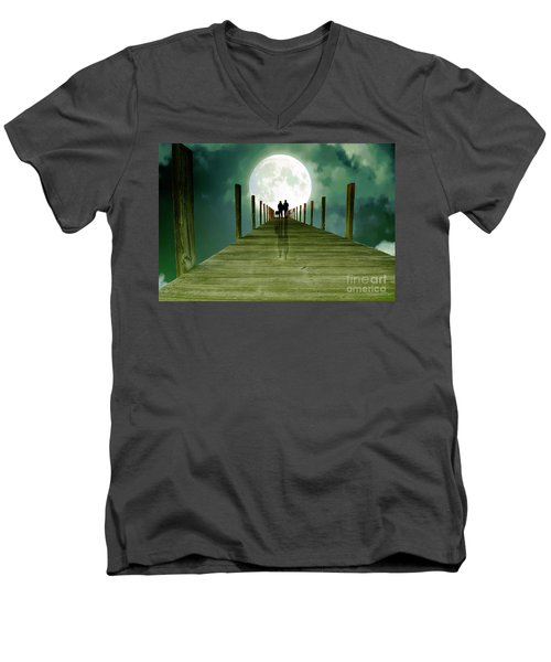 Full Moon Silhouette Men's V-Neck T-Shirt