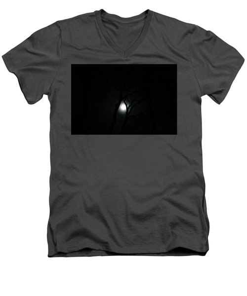 Men's V-Neck T-Shirt featuring the photograph Full Moon Through Trees by Marilyn Hunt