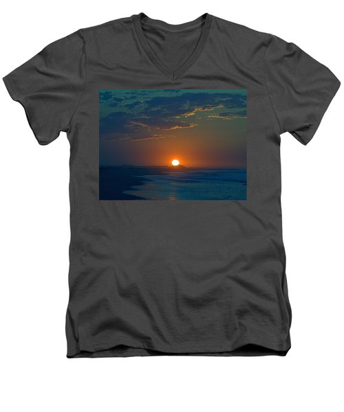 Men's V-Neck T-Shirt featuring the photograph Full Sun Up by  Newwwman