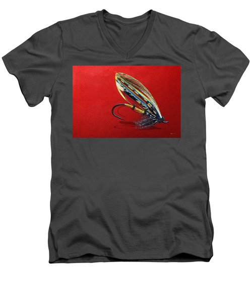 Fully Dressed Salmon Fly On Red Men's V-Neck T-Shirt by Serge Averbukh