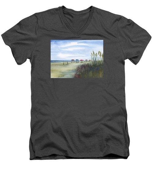 Fun At Folly Field Beach Men's V-Neck T-Shirt by Frank Bright