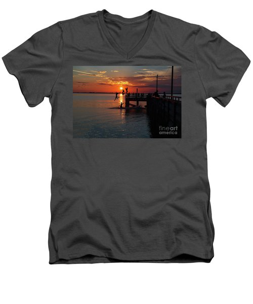 Fun On The Wharf Men's V-Neck T-Shirt by Jim  Hatch