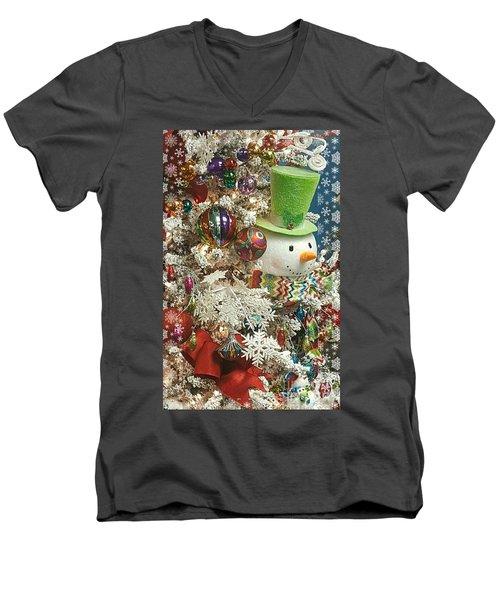 Fun Snowman Holiday Greeting Men's V-Neck T-Shirt