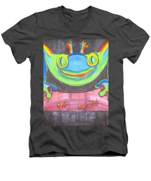 Men's V-Neck T-Shirt featuring the painting Funky Frog by Cathy Long
