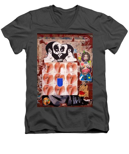 Funky New York Street Art  Men's V-Neck T-Shirt by Funkpix Photo Hunter