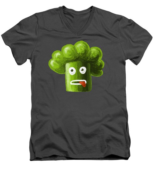 Funny Broccoli Men's V-Neck T-Shirt by Boriana Giormova