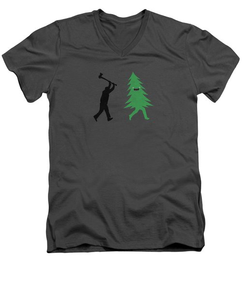 Funny Cartoon Christmas Tree Is Chased By Lumberjack Run Forrest Run Men's V-Neck T-Shirt