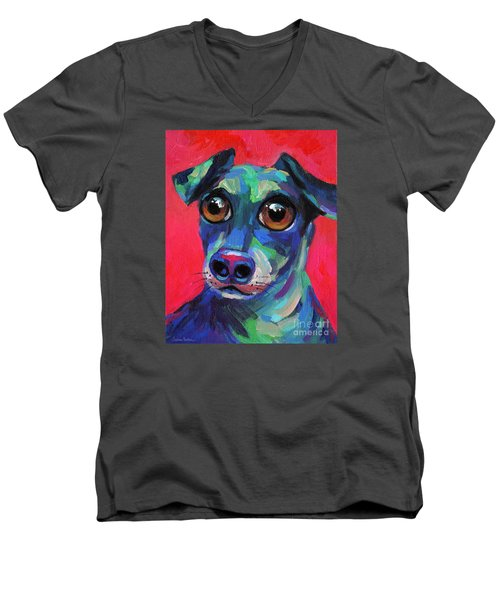 Funny Dachshund Weiner Dog With Intense Eyes Men's V-Neck T-Shirt