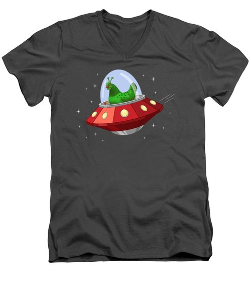Funny Green Alien Martian Chicken In Flying Saucer Men's V-Neck T-Shirt