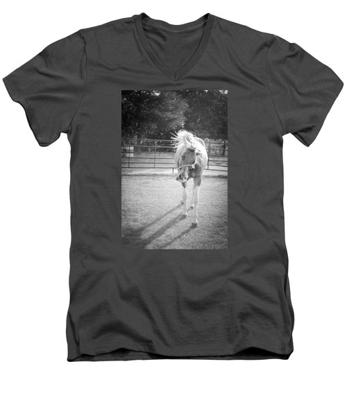 Funny Horse In Black And White Men's V-Neck T-Shirt by Kelly Hazel