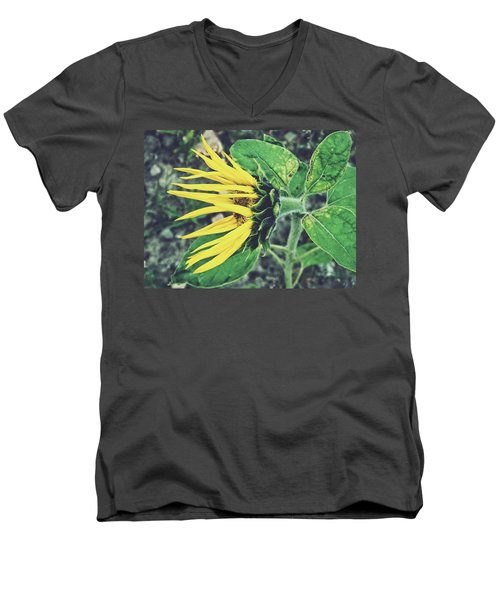 Men's V-Neck T-Shirt featuring the photograph Funny Sunflower by Karen Stahlros