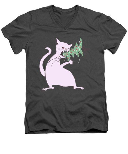 Funny White Cat Eats Christmas Tree Men's V-Neck T-Shirt