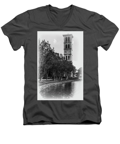 Furman University Bell Tower Greenville South Carolina Black And White Men's V-Neck T-Shirt