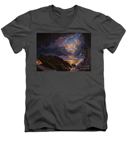 Men's V-Neck T-Shirt featuring the painting Furor by Rosario Piazza