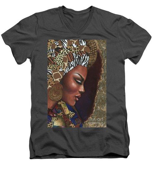 Men's V-Neck T-Shirt featuring the mixed media Further Contemplation by Alga Washington