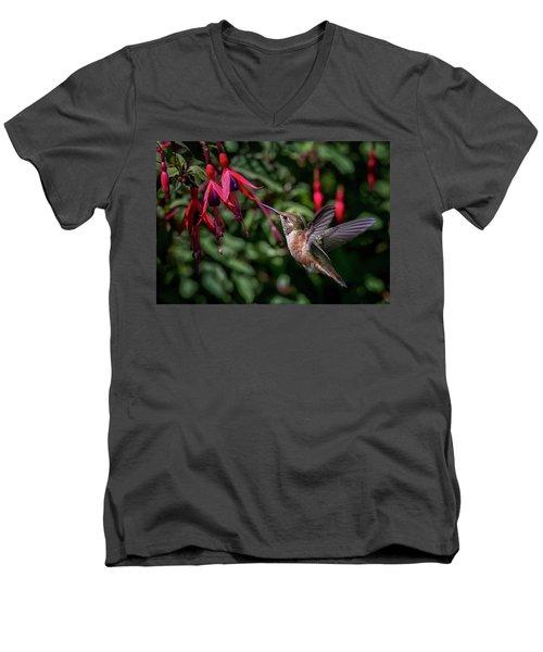 Fuschia Men's V-Neck T-Shirt by Randy Hall
