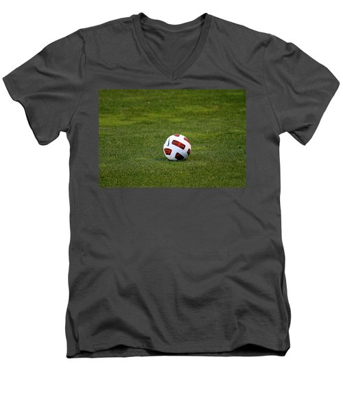 Men's V-Neck T-Shirt featuring the photograph Futbol by Laddie Halupa