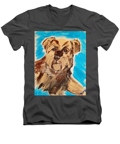 Men's V-Neck T-Shirt featuring the painting Fuzzy Boy by Ania M Milo