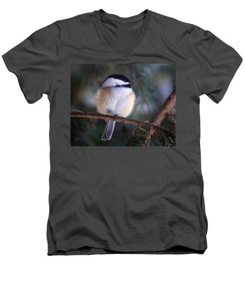 Fuzzy Chickadee Men's V-Neck T-Shirt